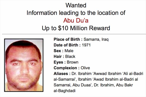 wanted poster for the caliph of isis